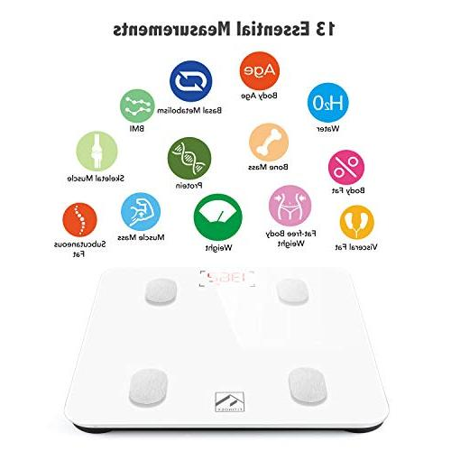 Bluetooth FITINDEX Smart Bathroom Weight Composition with iOS and Android APP Fat, Water, Muscle Mass