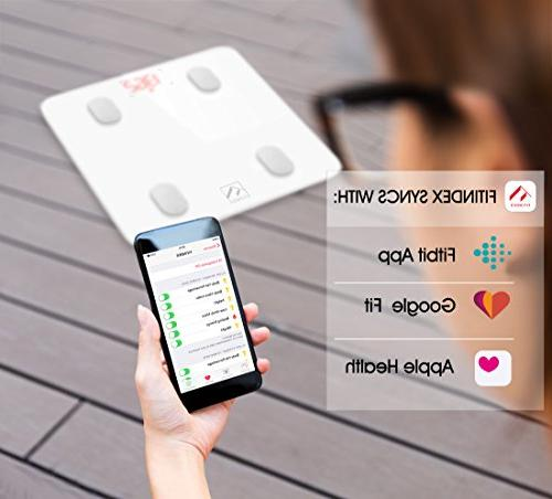 Bluetooth Fat FITINDEX Bathroom Body with iOS APP for Weight, Fat, Water, BMR,