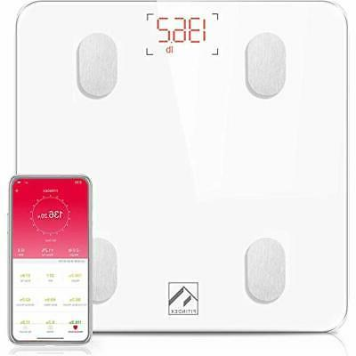 Bluetooth Body Fat FITINDEX Bathroom Composition Analyzer Health Monitor with APP for Fat, Water, BMI, BMR, Muscle Mass