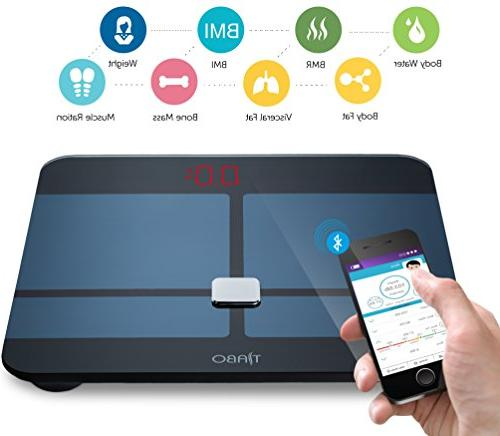 Bluetooth Fat Scale BMI iOS Android Digital Scale Measures Body Weight, Body Water, Muscle Body Fat, BMI, BMR &