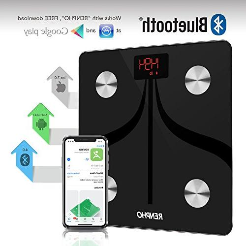 RENPHO Bluetooth Body Scale Rechargeable Digital Scale with & Smartphone App Scale 396