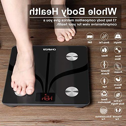 RENPHO Fat Scale USB Rechargeable Digital with iOS & Smartphone Scale Body Fat