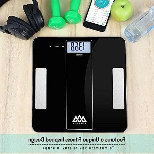 SENSSUN Bluetooth Fat Scale Scale Composition Analyzer with iOS APP Body Fat, Muscle
