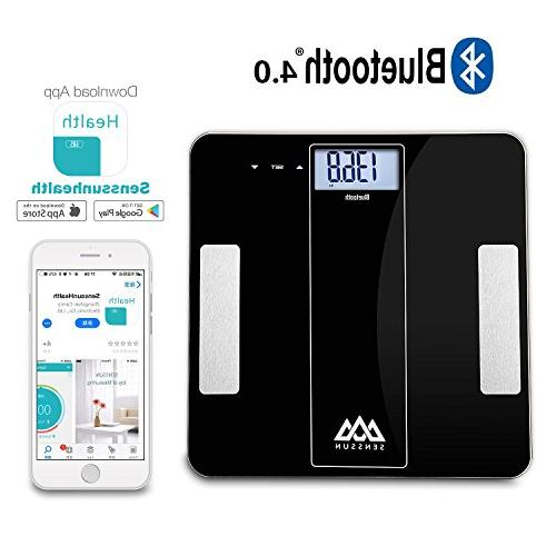 SENSSUN Body Scale Wireless Bathroom Scale Body with iOS Android APP Body Weight, Fat, Muscle lbs