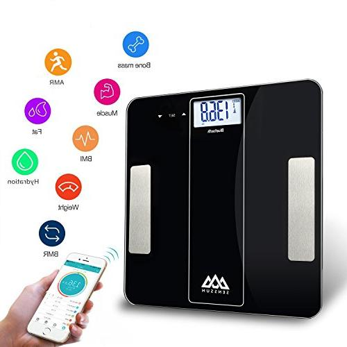 SENSSUN Scale Bathroom Scale Body with iOS Android Fat, Water, BMI, BMR, Muscle Mass,396