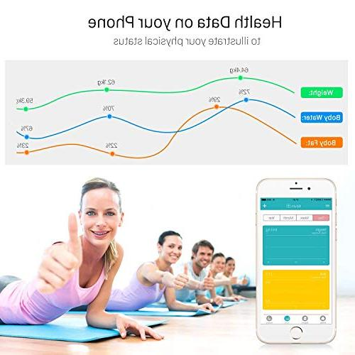 Bluetooth Body Fat Scales 400lb Composition iOS Android APP Technology, BMI, AMR, Body fat, Bone and Calorie