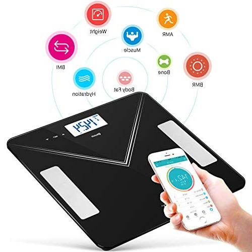 Bluetooth Fat 400lb Smart Digital Scale for Weight, Body Composition for Android APP with Technology, BMI, Body Muscle, Bone
