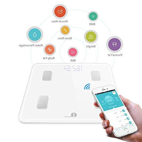 1byone Fat Analyzer, Digital Scale Smartphone App, Sync with Health, Google Fitbit -