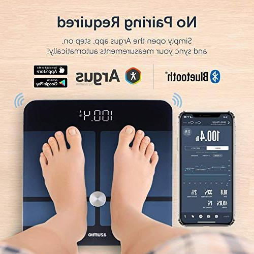 Azumio Smart Scale Weight | Glass LED Display Body Fat, Visceral, BMI, Muscle Mass, Water Weight in or iOS & Android