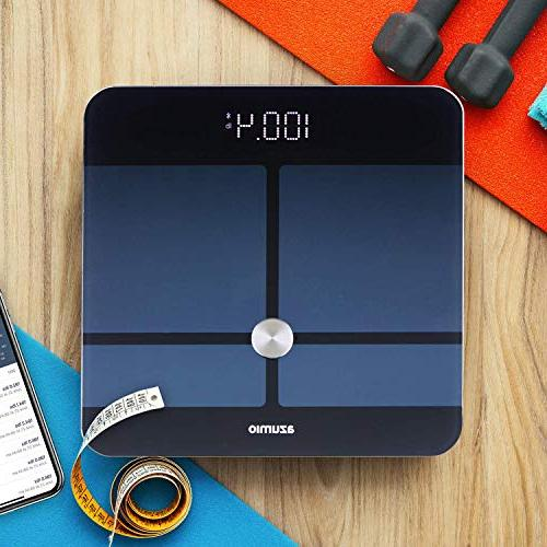 Azumio Smart Scale Body | 6mm Tempered Glass Fat, Visceral, BMI, Muscle Mass, Water Weight in or LB | iOS
