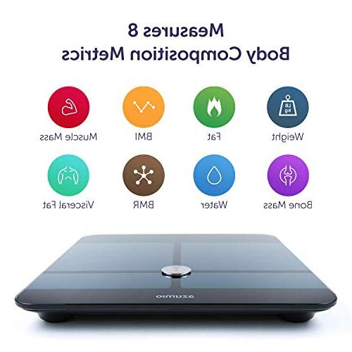 Azumio Digital Scale | LED Display Measures Body Fat, Muscle Water or LB | &