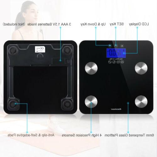 Digital LCD Fat Scale Weight Muscle Water BMI Analyzer Bathroom